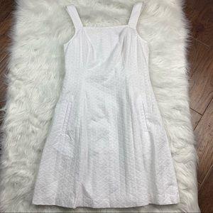 Theory Elexis Cotton Fit & Flare White Dress, Sz 8